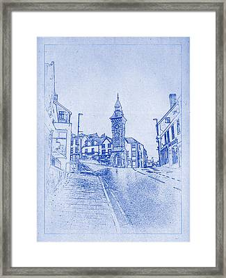 Knighton Clock Tower Blueprint Framed Print by Kaleidoscopik Photography