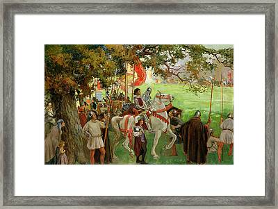 Knights Assembling, From Sir Nigel Framed Print by George Edmund Butler