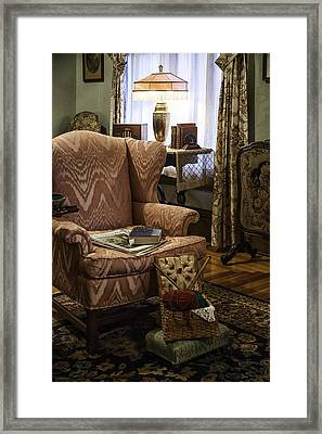 Knitting And Reading Materials Framed Print