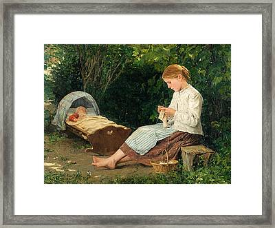 Knitting Girl Watching The Toddler In A Craddle Framed Print