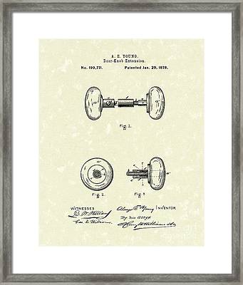 Knob Extension 1878 Patent Art Framed Print by Prior Art Design