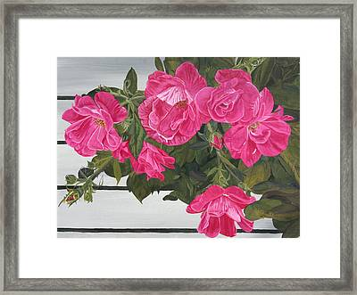 Framed Print featuring the painting Knock Out Roses by Wendy Shoults