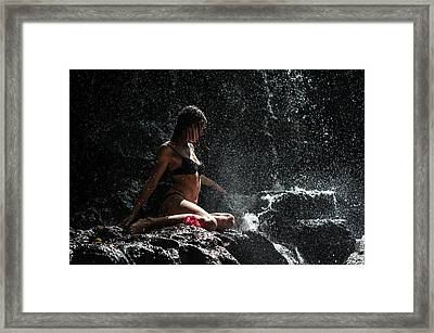 Knowledge. Anna At Eureka Waterfalls. Mauritius Framed Print