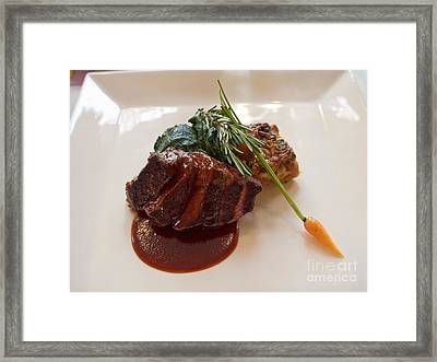 Kobe Beef With Spring Spinach And A Wild Mushroom Bread Pudding Framed Print by Louise Heusinkveld