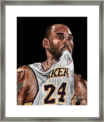 Kobe Bryant Biting Jersey Framed Print by Israel Torres
