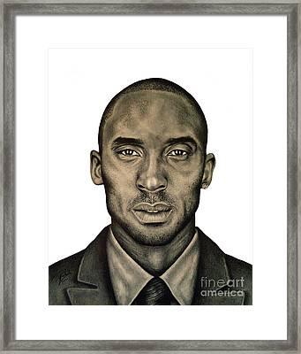 Kobe Bryant Black And White Print Framed Print by Rabab Ali