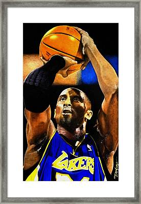 Kobe Bryant Drawing Framed Print by Dan Troyer