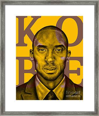 Kobe Bryant Lakers' Gold Framed Print by Rabab Ali