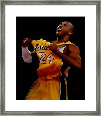 Kobe Bryant Sweet Victory Framed Print by Brian Reaves