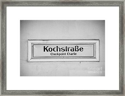 Kochstrasse Checkpoint Charlie Berlin U-bahn Underground Railway Station Name Germany Framed Print by Joe Fox