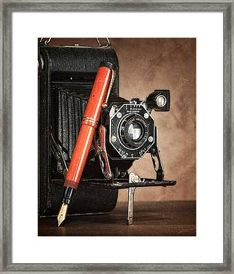 Kodak And Parker Still Life Framed Print by Tom Mc Nemar