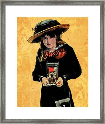 Kodak Girl And Folding Camera With Red Bellows Framed Print by Jennifer Rondinelli Reilly - Fine Art Photography