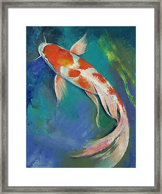 Kohaku Butterfly Koi Framed Print by Michael Creese