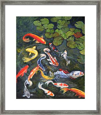 Framed Print featuring the painting Koi Among The Lily Pads by Sandra Nardone