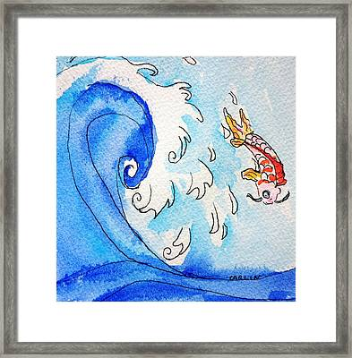 Koi And Asian Wave Framed Print