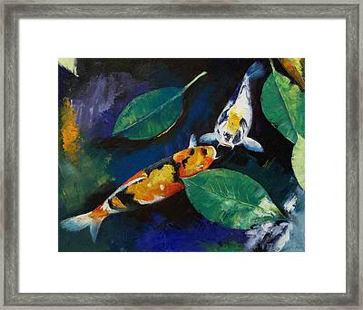 Koi And Banyan Leaves Framed Print by Michael Creese