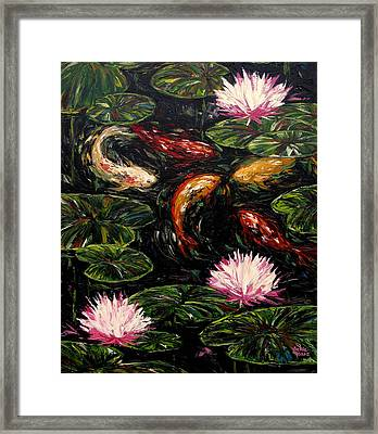 Koi And Lotus Blossoms Framed Print by Vickie Fears