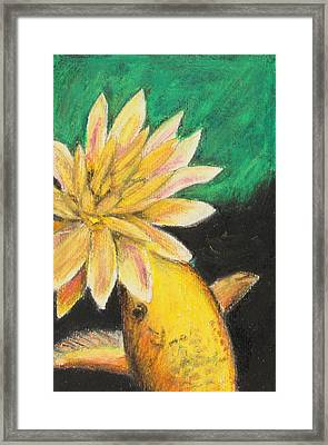 Framed Print featuring the painting Koi And The Lotus Flower by Jeanne Fischer