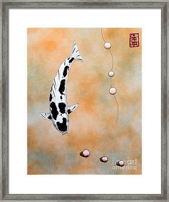 Koi Bekko Broken Necklace Painting Framed Print by Gordon Lavender