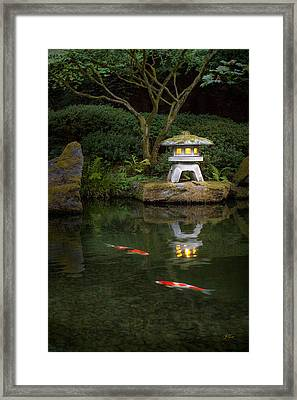 Koi By Lantern Light Framed Print by Lori Grimmett