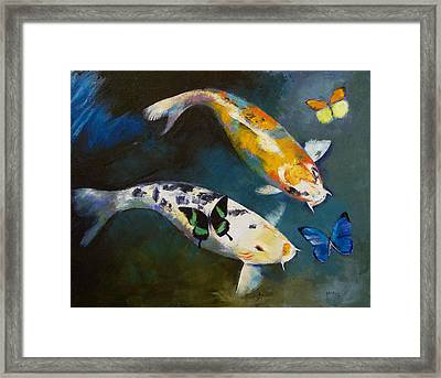 Koi Fish And Butterflies Framed Print by Michael Creese