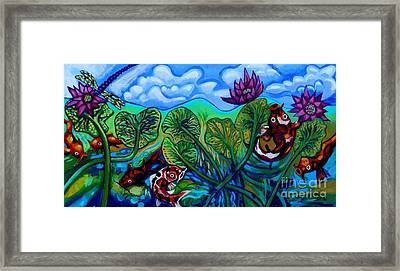 Koi Fish And Water Lilies With Dragonfly Framed Print by Genevieve Esson