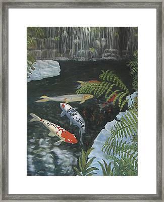 Framed Print featuring the painting Koi Fish by Karen Zuk Rosenblatt