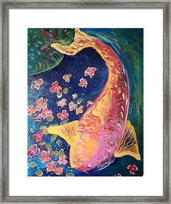 Koi Fish Framed Print by Michaela Kraemer