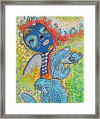 Koi Fish Sugar Skull Framed Print by Laura Barbosa