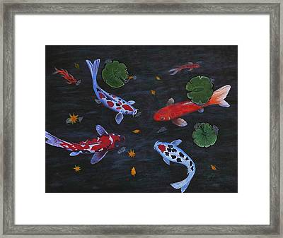 Framed Print featuring the painting Koi Fishes Original Acrylic Painting by Georgeta  Blanaru