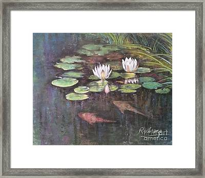 Framed Print featuring the painting Koi Pond by Rose Wang