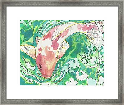 Framed Print featuring the painting Koi Joy by Jenn Cunningham