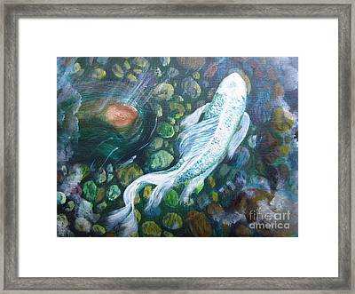 Framed Print featuring the painting Koi by Laurianna Taylor