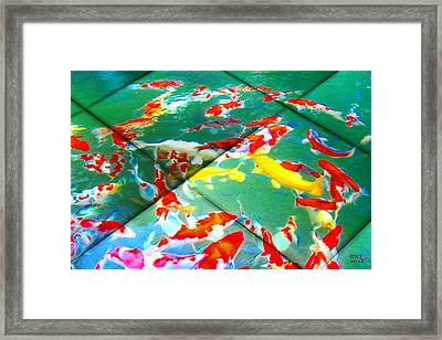 Framed Print featuring the digital art Koi Mosaic II by Manny Lorenzo