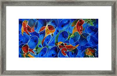Koi Pond 2 - Liquid Fish Love Art Framed Print by Sharon Cummings