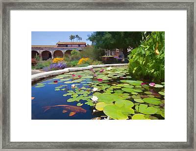 Koi Pond In California Mission Framed Print by Cliff Wassmann