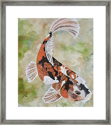Framed Print featuring the painting Koi by Suzette Kallen
