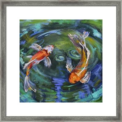 Koi Swirl Framed Print by Donna Tuten