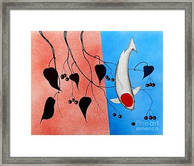 Koi Tancho Red And Blue Painting Framed Print by Gordon Lavender