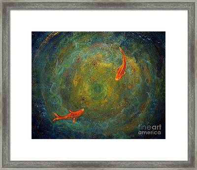 Framed Print featuring the painting Koi Whirlpool by Tamyra Crossley