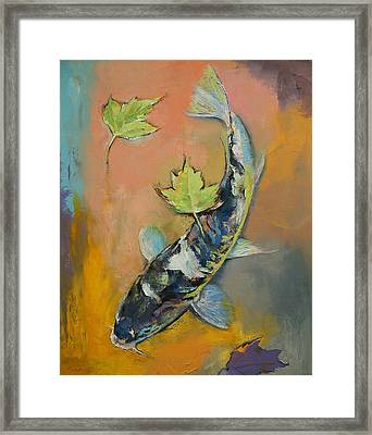 Koi With Japanese Maple Leaves Framed Print by Michael Creese