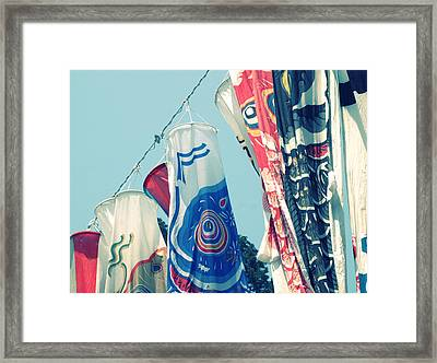 Framed Print featuring the photograph Koinobori Flags by Rachel Mirror