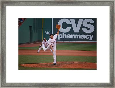 Koji Uehara Of The Red Sox Framed Print by Alan Holbrook
