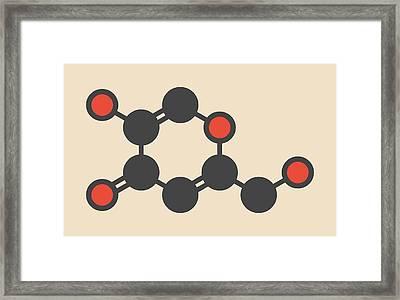 Kojic Acid Molecule Framed Print by Molekuul