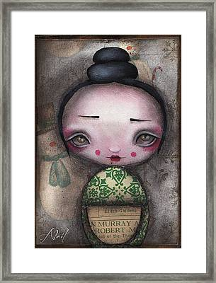 Kokeshi Doll Framed Print by  Abril Andrade Griffith