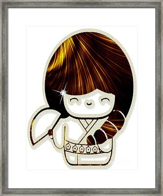 Kokeshi Doll With Pearls And Diamond I Framed Print by Anne Kitzman