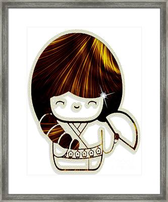 Kokeshi Doll With Pearls And Diamond II Framed Print by Anne Kitzman