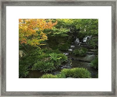 Kokoen Garden Waterfall - Himeji Japan Framed Print by Daniel Hagerman