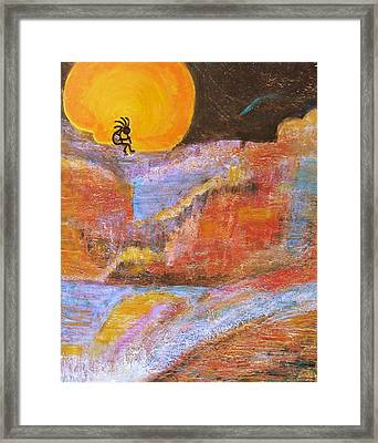 Kokopelli And The Big Moon Framed Print by Anne-Elizabeth Whiteway