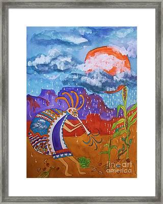 Kokopelli Bringing The Rains Framed Print by Ellen Levinson